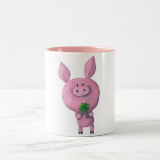 Lucky pig with lucky four leaf clover Two-Tone coffee mug