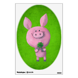 Lucky pig with lucky four leaf clover wall sticker