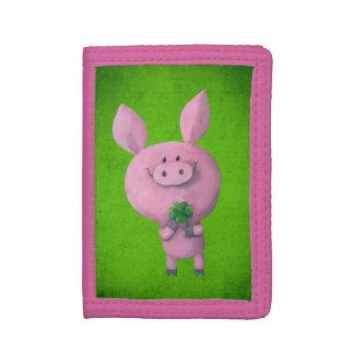 Lucky pig with lucky four leaf clover tri-fold wallet