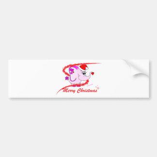 Lucky Pinkie Merry Christmas Bumper Sticker Car Bumper Sticker