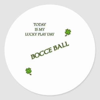 Lucky Play Day Bocce Ball Classic Round Sticker
