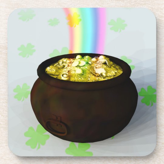 Lucky Pot of Gold Drink Coaster