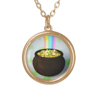 Lucky Pot of Gold Round Pendant Necklace