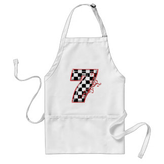 lucky race number 7 adult apron