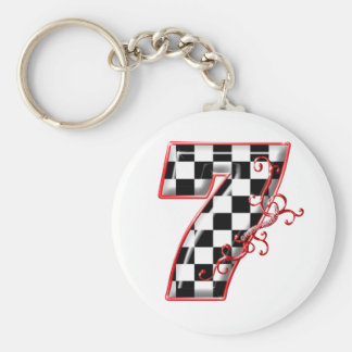 lucky race number 7 basic round button keychain