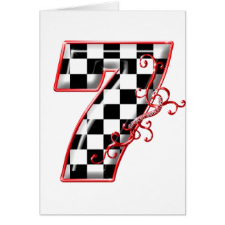 lucky race number 7 card