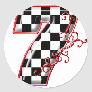 lucky race number 7 classic round sticker