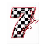 lucky race number 7 postcard