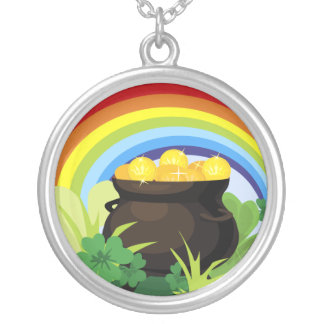 Lucky Rainbow Pot Of Gold Irish Shamrocks Clovers Silver Plated Necklace