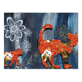 Lucky Red Cats Postcard