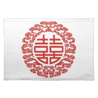 Lucky red double happiness chinese wedding cloth placemat