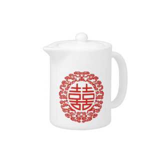 Lucky red double happiness chinese wedding teapot