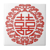 Lucky red double happiness chinese wedding tile