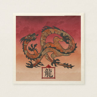 Lucky Red Dragon, 龙 Standard Cocktail Napkin