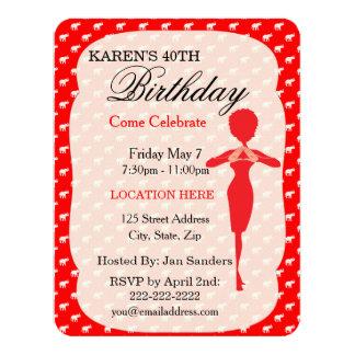 "Lucky Red Elephant Birthday Party Invitations 4.25"" X 5.5"" Invitation Card"