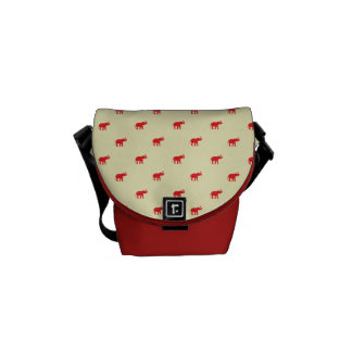 Lucky red elephant pattern messenger bag