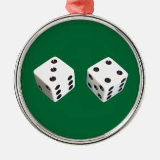 Lucky Seven Dice Roll Metal Ornament