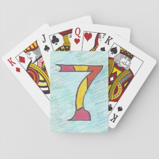 Lucky Seven on Cool Blues Playing Cards