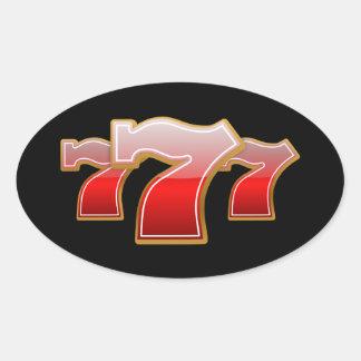 Lucky Seven Oval Sticker