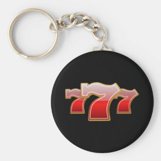 Lucky Seven - Red Sevens on Black Background Basic Round Button Keychain