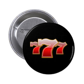 Lucky Seven - Red Sevens on Black Background Pinback Button