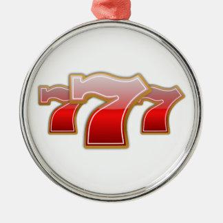 Lucky Sevens - Slot Machine Jackpot Round Metal Christmas Ornament
