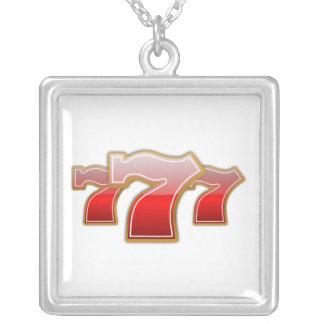 Lucky Sevens - Slot Machine Jackpot Silver Plated Necklace