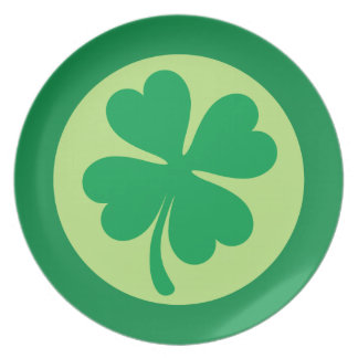 Lucky shamrock 4 leaf clover St Patricks day plate