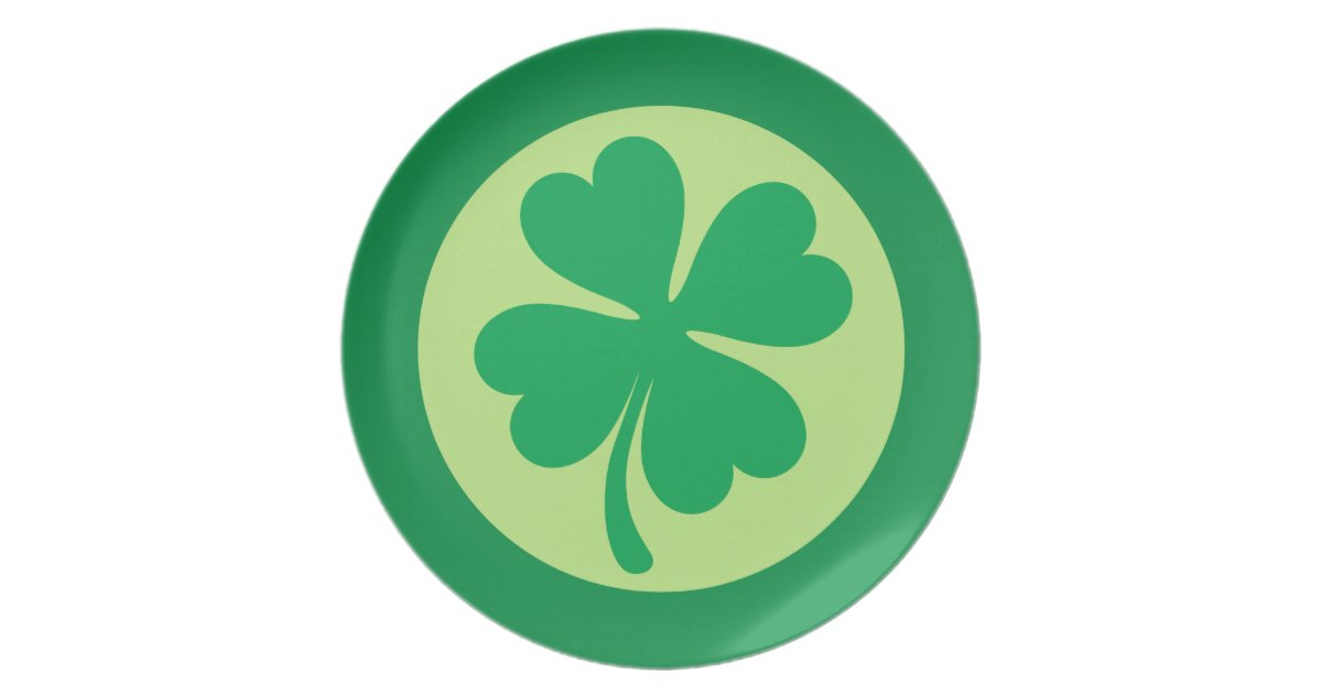 Lucky Shamrock 4 Leaf Clover St Patricks Day Plate Zazzle Com