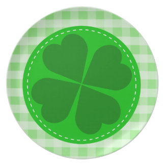 Lucky Shamrock and Green Checkered Party Plate