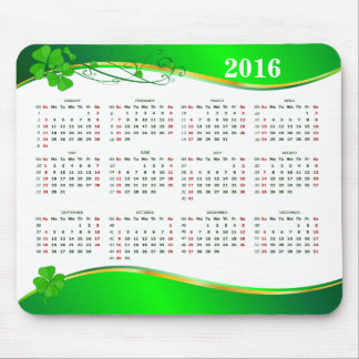Lucky Shamrock Calendar 2016 on green wave Mouse Pad