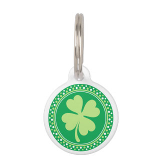Lucky shamrock clover dot border personalized pet ID tag