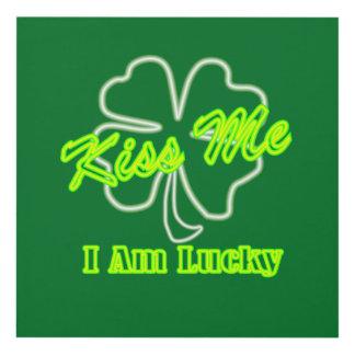 Lucky Shamrock Clover Kiss Me I Am Irish Panel Wall Art