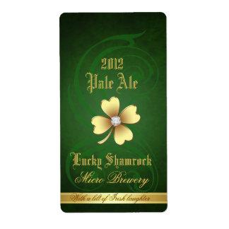 Lucky Shamrock Elegant Gold Beer Label