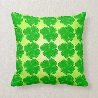 Lucky Shamrock Four Leaf Clover Throw Pillow