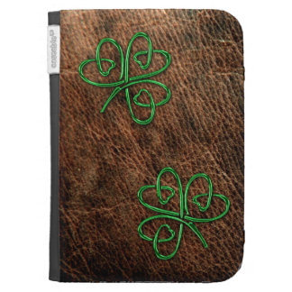 Lucky shamrock green on genuine leather cases for the kindle