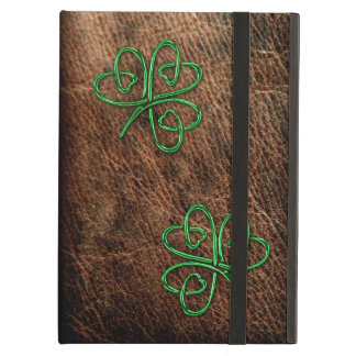 Lucky shamrock green on genuine leather cover for iPad air