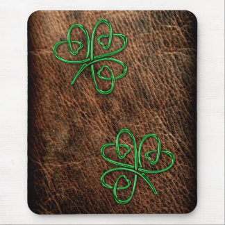 Lucky shamrock green on genuine leather mouse pad