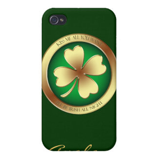 Lucky Shamrock Kiss Me Irish 4gs I iPhone 4 Covers