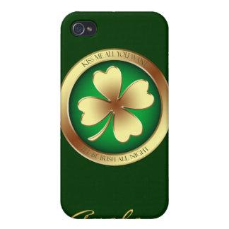 Lucky Shamrock Kiss Me Irish 4gs I iPhone 4 Covers