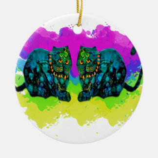 Lucky Shamrock Kitties Ceramic Ornament