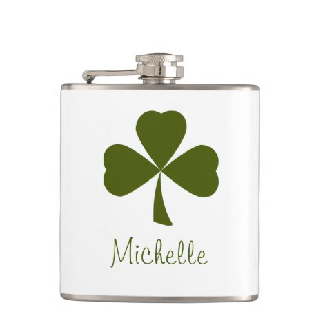 Lucky Shamrock Monogram St. Patrick's Day Flask