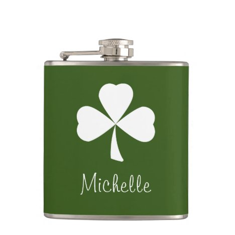 Lucky Shamrock Monogram St. Patrick's Day Green Flask