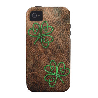 Lucky shamrock on genuine leather iPhone 4 cases
