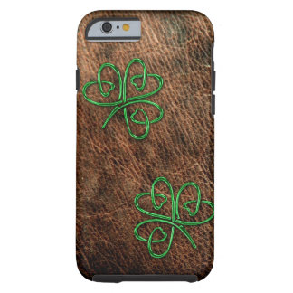 Lucky shamrock on genuine leather tough iPhone 6 case