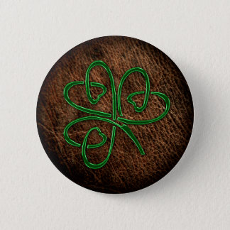 Lucky shamrock on leather texture pinback button