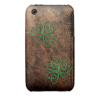 Lucky shamrock on natural leather iPhone 3 case