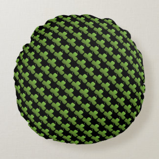 Lucky Shamrock Pattern, Black and Green Round Pillow