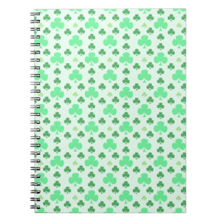 Lucky Shamrock Pattern Spiral Notebook