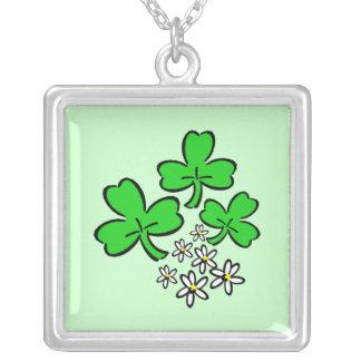 Lucky Shamrocks Square Pendant Necklace
